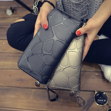 Fashion Women Leather Wallet Female Long Card Holder Big Stone Wallets Casual Clutch Zipper Coin Purse Cellphone ID Holder H880