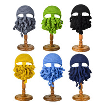 New Funny Handmade Octopus Hats For Halloween Party Props Winter Warm Knitted Wool Face Mask Beanies For Men Unisex Xmas Gift(China)