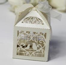 100PCS Laser Cut Love Hearts Bird Style Candy Gift Boxes With Ribbon Wedding Birthday Baby Shower Party Favor Box