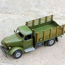 "16"" Home Decoration Art Collection Truck Model Metal Car Models Vintage Iron Crafts Boy Gift(China)"