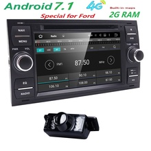 2 Din Android 7.1 4 Core In Dash Car DVD Player For Ford Mondeo Focus Transit C-MAX GPS Navi Radio Support 2G RAM 4G WIFI RDS BT