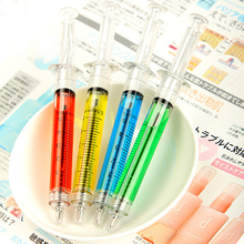 Korean style 12.5cm syringe Ballpoint Pen Novelty Stationery Pens Student Learning stationery promotion pen gag pens 10 Pcs
