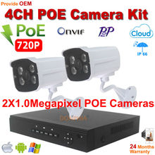 4CH HDMI POE NVR Network Video Record 720P ir night vision Onvif P2P POE IP Camera Home Security Camera POE System Plug and Play