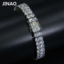 JINAO Hip Hop Bracelets 2 Rows Gold Silver AAA Cubic Zirconia Paved All Iced Out Tennis Bling Lab CZ Stones Bracelet for Gift(China)