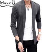 Mwxsd brand Men casual slim fit Cardigan thin Jacket and coat No button design male autumn korean Knitting Jacket(China)