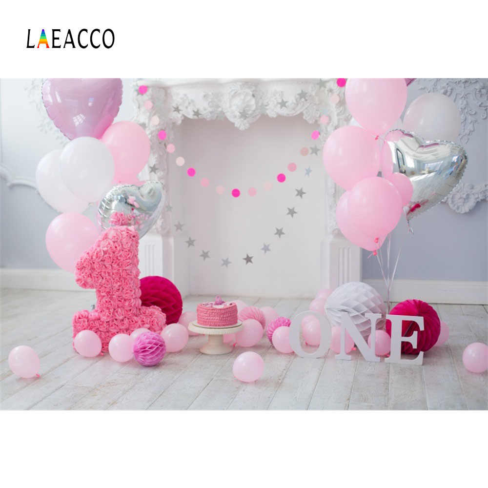 Laeacco Pink Balloons Happy Baby 1 Birthday Party Cake Flower Gray Wooden Floor Child Portrait Photo