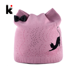 Winter Beanie Hat With Ear Flaps For Women Black Cat Diamond Bow-knot Knitted Beanies Skullies Cap Ladies Touca Inverno Feminina