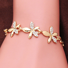 New Fashion Crystal Bracelets Bangles Gold Color Flower Charm Bracelets for Women Wedding Party Vintage Jewelry Christmas Gift(China)