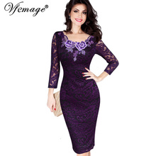 Vfemage Womens Autumn Elegant Embroidery See Through Lace Party Evening Special Occasion Sheath Vestidos Bodycon Dress 4240(China)