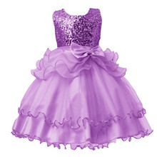 Baby Girls Dresses for Girls 3-13 Years Kids Red Purple Rose Red Sequined Dress Girls Princess Costume for Party Clothes 137B