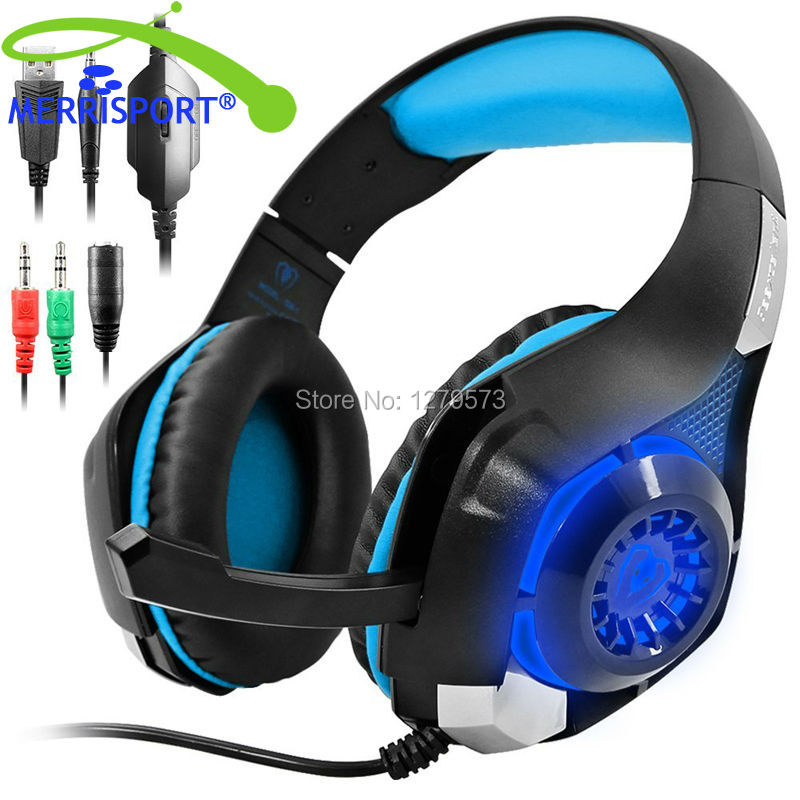 MERISPORT Gaming Headsets with LED Light, Headband Headphones for Playstation 4 PSP Xbox one Tablet iPhone Samsung Smartphone PC<br>
