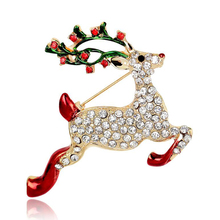 Zinc Alloy Christmas Horse Costume Brooch Red Rhinestone Christmas Brooches Lot Collar Clip For Scarf Buckle PWBR004