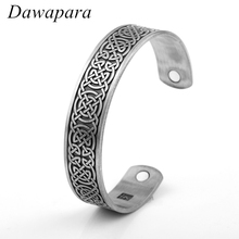 Dawapara Viking Slavic Vintage Engrave Luck Celtic Knots Health Magnetic Cuff Bangles & Bracelets Jewelry For Gifts(China)