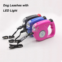 4.5m 40Kg High Quality Retractable Dog Leashes/Lead With LED Light For Dogs And Pets Extending Puppy Walking Nylon Leads