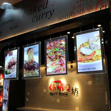 A3 Cable Hanging Acrylic Menu Board,Single Sided LED Illuminated Restaurant Menu Lightbox,Crystal Poster display frames