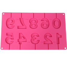 Numbers Lollipop Mold Silicone Chocolate Mould with Sticks 0~9 Fondant Cake Decorating Tools D941(China)