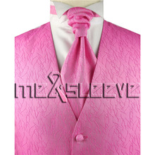 pink colour cheap men's waistcoat for party/wedding(vest+ascot tie+handkerchief+cufflinks)(China)