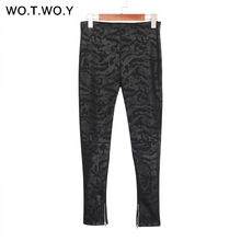 WOTWOY High Waist Zippers Leather Pants Women Skinny Fleece Faux Leather Trousers Women Pencil Pants Stretching Leather Leggings(China)