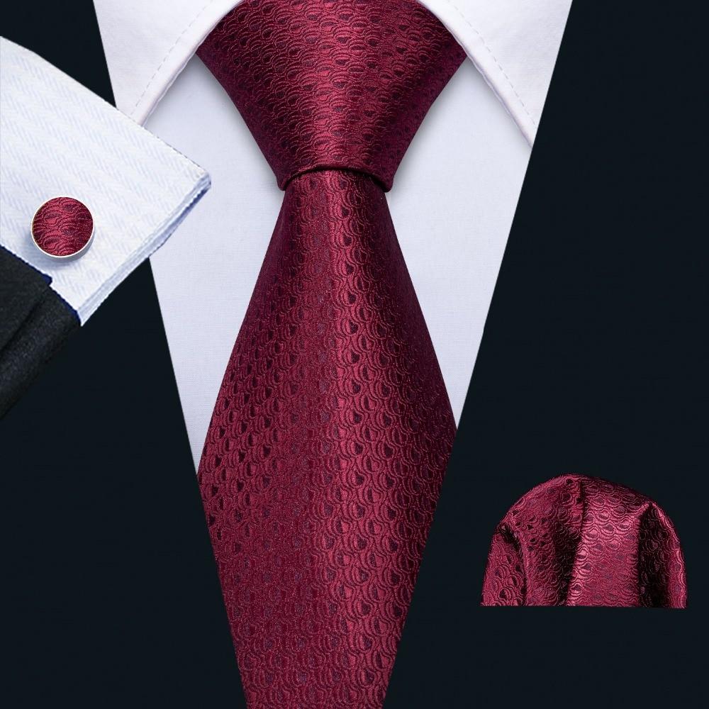 Men Wedding Tie Red Geometric Silk Tie Hanky Set Barry.Wang 8.5cm Fashion Designer Neck Ties For Men Party Dropshipping FA-5154
