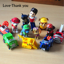 12pcs/lot mini Canine Patrol Dog Anime Cartoon Patrol Puppy Dog Action Figure  Toys Patrol Dog Model Toys for Children Kids Gift