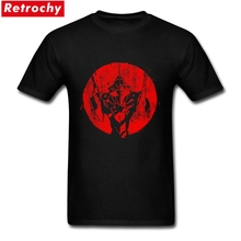 2017 Popular Regular Fit Men's Vintage Anime Unit T Shirt Screen Printed Short Sleeved Organic Cotton evangelion shirt