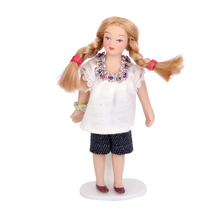 Cute Dollhouse Miniature Porcelain Dolls Brown Hair Little Girl in White T-shirt Christmas Birthday Gift Toys for Kid Children
