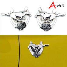 1pair Car Styling 45th Anniversary Chrome Fender 3D Mustang Pony Logo Badge Emblem Side Body Sticker Auto Decal Universal kit