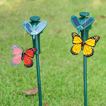 2pcs Solar Powered Dancing Flying Butterfly dual rotation simulation Fluttering Butterflies Garden Decoration kid gift(China)