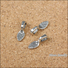 Free shipping Pendant Clips & Pendant Clasps 68 PCS Tibetan silver plated Tone Glue on Bail Leaf Tags Findings DIY Jewelry B064(China)