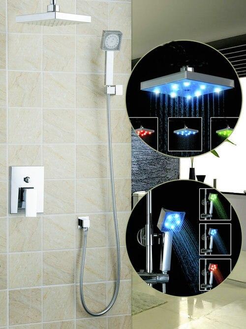 Bathroom Shower Faucet Set Wall Mount Tub Mixer Tap with Hand Spray LED Light 8 Shower Head Bathroom Rainfall 57702A<br><br>Aliexpress