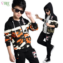 V-TREE Long sleeve children's sports suits boys clothing set camouflage child football tracksuit clothes sets for teenage