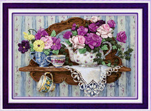 [super deals]Needlework,DIY Ribbon Cross stitch Sets for Embroidery kit,Teaport flower love ribbon Cross-Stitch wall decor(China)