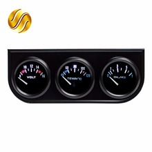 "Dragon Gauge 52mm 2"" 3-In-1 Kit Car Guage Voltage + Water Temperature + Oil Press Gauges Black Car Meters Triple Dashboard(China)"