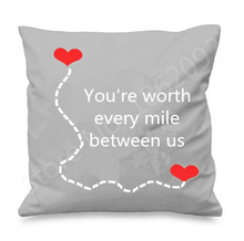 Long Distance Relationship Throw Pillow Case Quote Long Distance Love Cushion Cover Worth Every Mile Valentine Anniversary Gift(China)