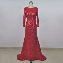 Custom made service red sequin evening dress real picture scoop neckline low back long sleeves party evening gown