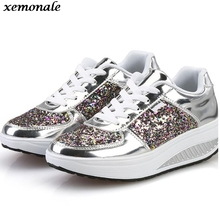 Cool Sequined Spring/Autumn Shoes Women Casual Shoes Sport Fashion Walking Shoes Swing Wedges Shoes Woman Ankle Boots