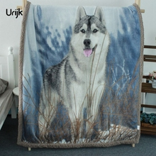 Urijk 1PC Large Warm Blankets for Beds Thick Cashmere Throw Blanket Wolf Printed Rectangle Modern Fleece Blanket Washable Winter(China)