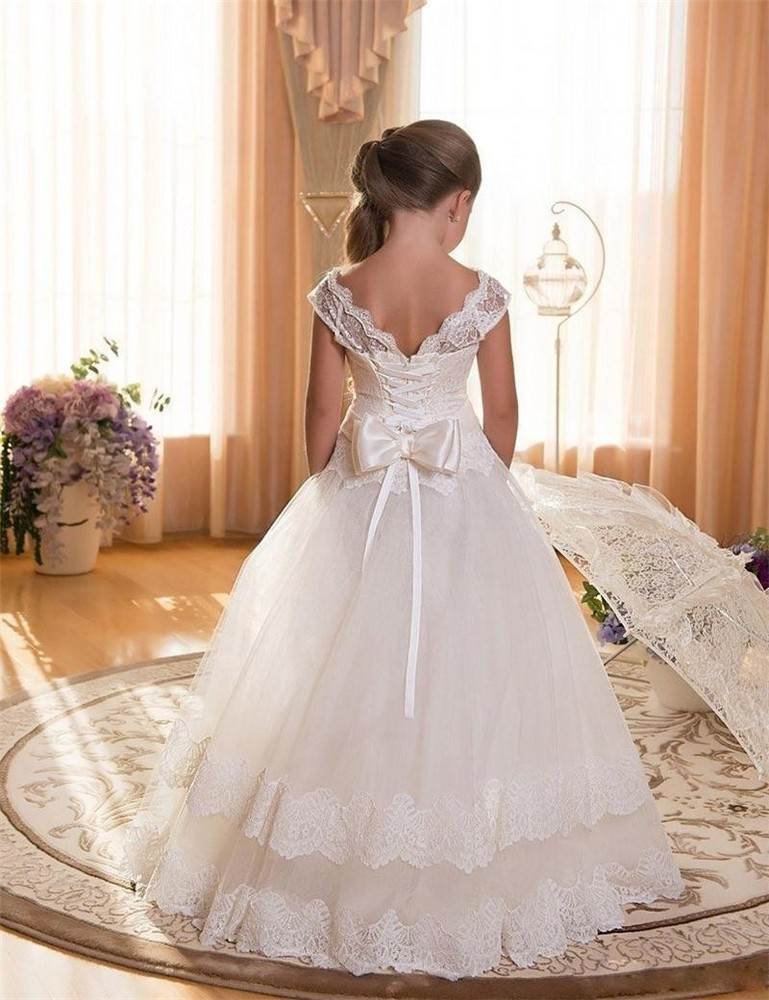 Lace Teen Girls Dress 2018 New Tule Child Wedding White Princess Pageant Gown Bridesmaid Dresses For Kids Party Evening Clothing (2)