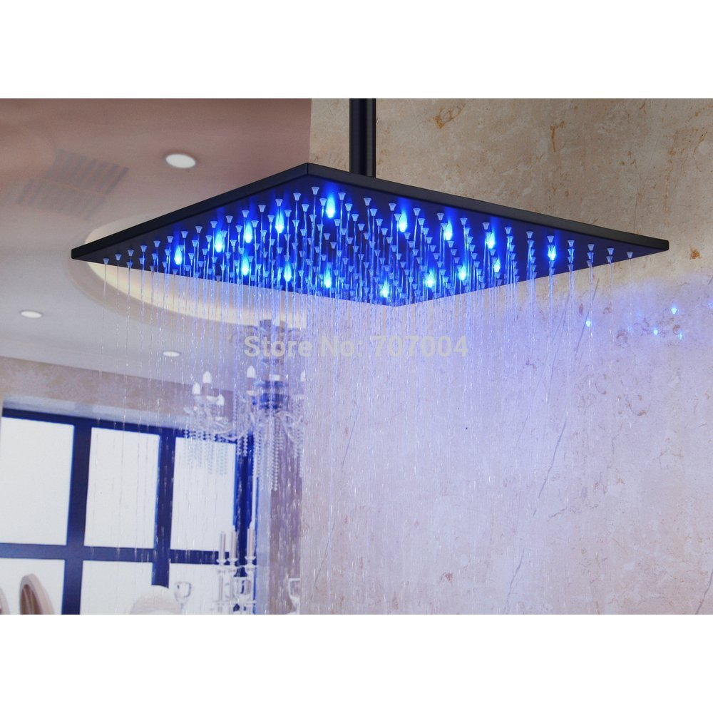 Wall &amp; Ceiling Mount 16 Inch Square LED Rainfall Shower Head Plumbing Fixtures Without Shower Arm ,Oil Rubbed Bronze<br><br>Aliexpress