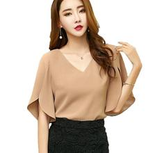 New Butterfly Sleeve Blouses Women Shirts 2017 Sexy V Neck Summer Blusas Feminina Tops Fashion Loose Plus Size Chiffon Blouse