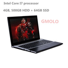 15.6inch In-tel Core I7 notebook laptop 4GB RAM 500GB HDD & 64GB SSD DVD RW gaming laptop computer WIFI camera