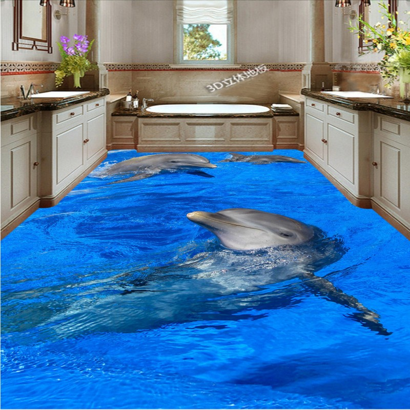 Free Shipping 3D dolphin playing water flooring painting wallpaper kitchen home office waterproof floor mural<br><br>Aliexpress