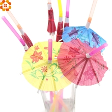 New!20PCS 3D Umbrella Cocktail Drinking Paper Straws Flexible Plastic Bendy Straws Birthday Wedding Event Party Decoration(China)