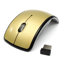 Gold 2.4GHz Arc Touching Wireless Mouse Slim Foldable Flat Mouse Ultrathin Computer folding Mice Touching Mouse