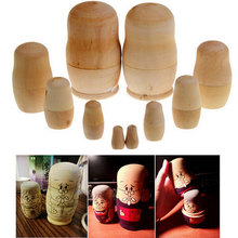 5pcs/Set Wooden Color Russian Dolls Nesting Matryoshka Hand Paint Doll Toy DIY Pure Handmade(China)