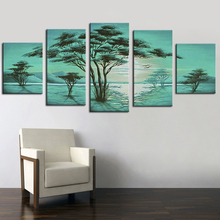 Painting Calligraphy Wall Pictures Green Tree Landscape Oil Painting on Canvas Frameless 5 Panel Handmade Handicraft Works