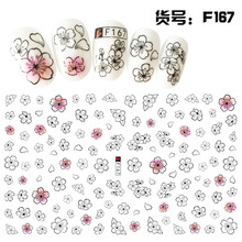 1Sheet Manicure Nail Decoration DIY Self Adhesive Flower Decals 3d Fresh White Pink Water Transfer Sticker Beauty China