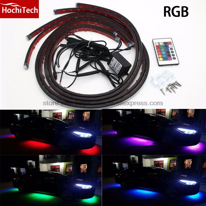 HochiTech Wireless Control 5050 LED RGB Flash Strip Under Car Auto Glow Underbody multi-color Light Kit Waterproof 2*120+2*90cm<br>