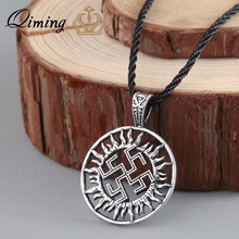 QIMING Viking Son Of Sun Sloar Kolovrat Slavic Amulet Pendants For Necklace Scandinavian Norse Round Choker Necklace(Hong Kong)