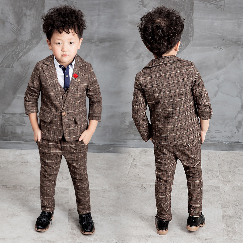 2017 New Children Suit Baby Boys Suits Kids Blazer Formal For Weddings Clothes Set Jackets Vest Pants 3pcs 2 10y In From Mother